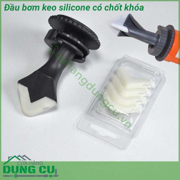 Bộ đầu bơm keo silicon kèm miếng miết mạch làm sạch