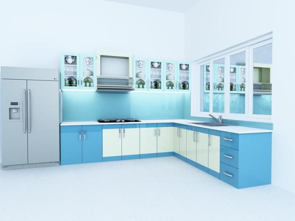 Cách đóng tủ bếp nhôm kính