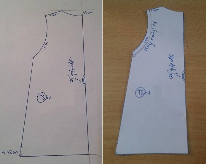 Học cắt may váy suông hở vai cho bé