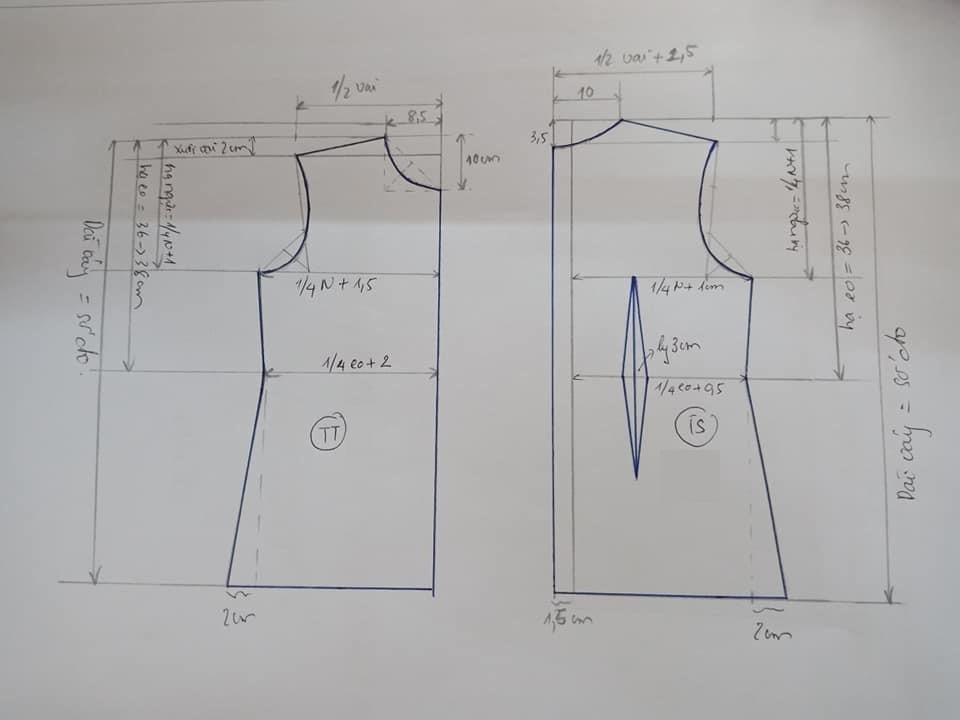 Cách cắt may váy nhún thân trước