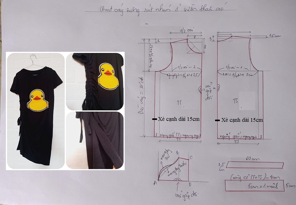 Hướng dẫn thiết kế váy rút nhún cạnh