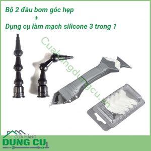 Combo Bộ 2 bơm góc hẹp và Dụng cụ làm mạch và vuốt keo silicone 3 trong 1