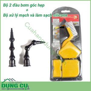 Combo Bộ 2 bơm góc hẹp và Bộ 4 dụng cụ miết mạch và làm sạch keo Silicone