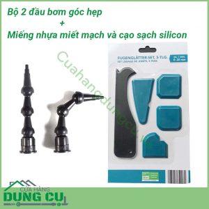 Combo Bộ 2 dụng cụ bơm góc hẹp và Bộ 5 dụng cụ miết mạch và làm sạch keo Silicone