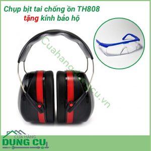 Chụp bịt tai cỡ lớn chống ồn bảo vệ tai tặng kính bảo hộ