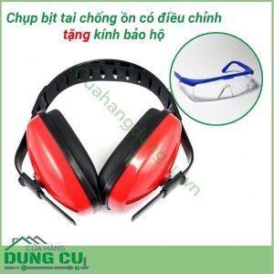 Chụp bịt tai chống ồn có điều chỉnh bảo vệ tai tặng kính bảo hộ