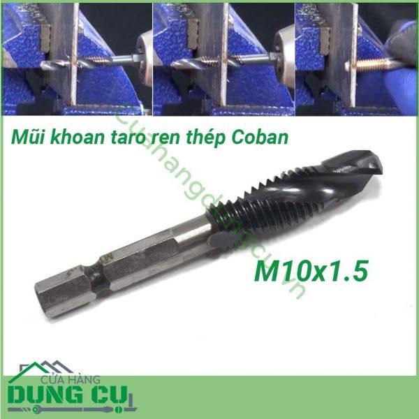 Mũi khoan taro ren M10x1.5 cao cấp thép Coban